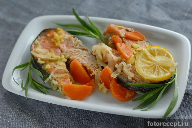 приготовление красной рыбы в духовке с овощами