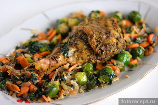 Запечённая индейка с овощным гарниром