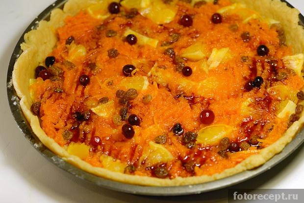 Открытый пирог с апельсинами и тыквой
