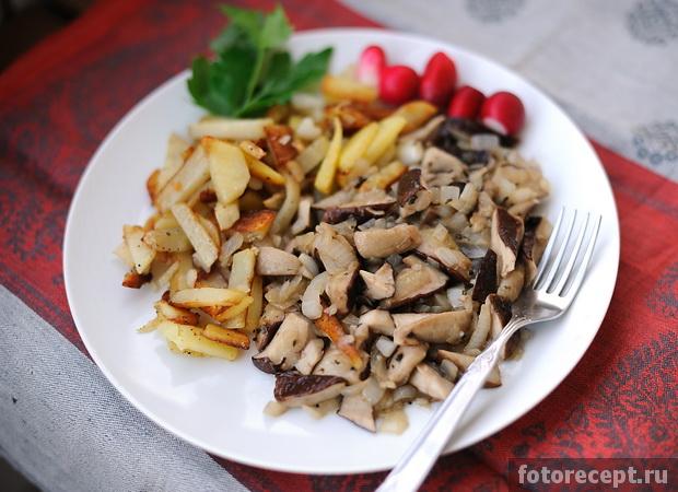 грибы белые с картошкой жареные рецепт с фото