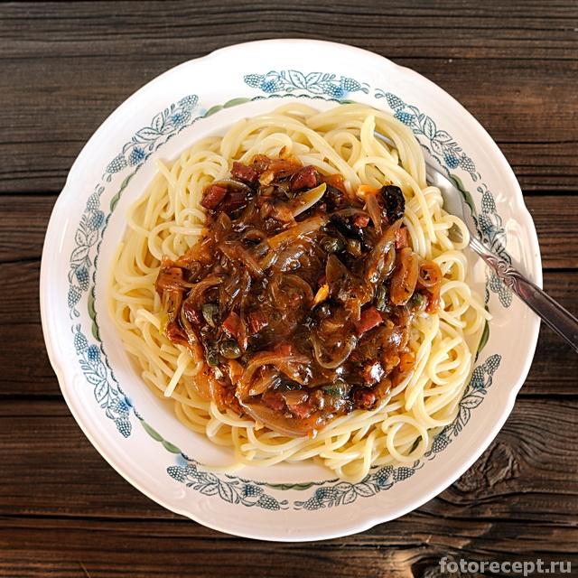 Спагетти с колбасным соусомСпагетти с колбасным соусом