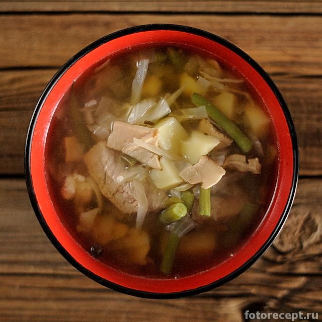 рецепт суп из свинины и грибов