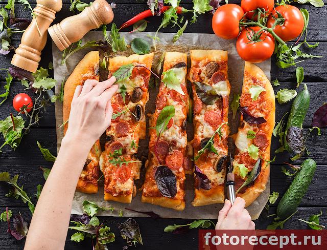 Пицца с шампиньонами на сдобном тесте
